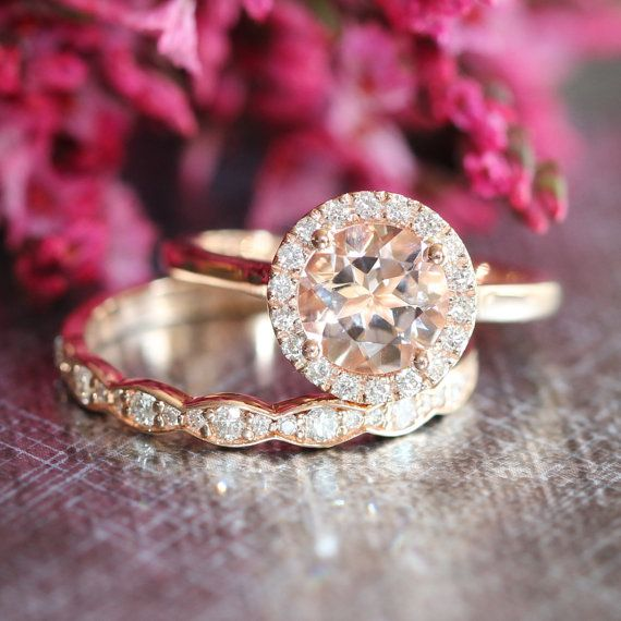 Morganite Wedding Set Rose Gold Diamond Scalloped Wedding Ring And Gemstone  Halo Engagement Ring In Gold Bridal Ring Set