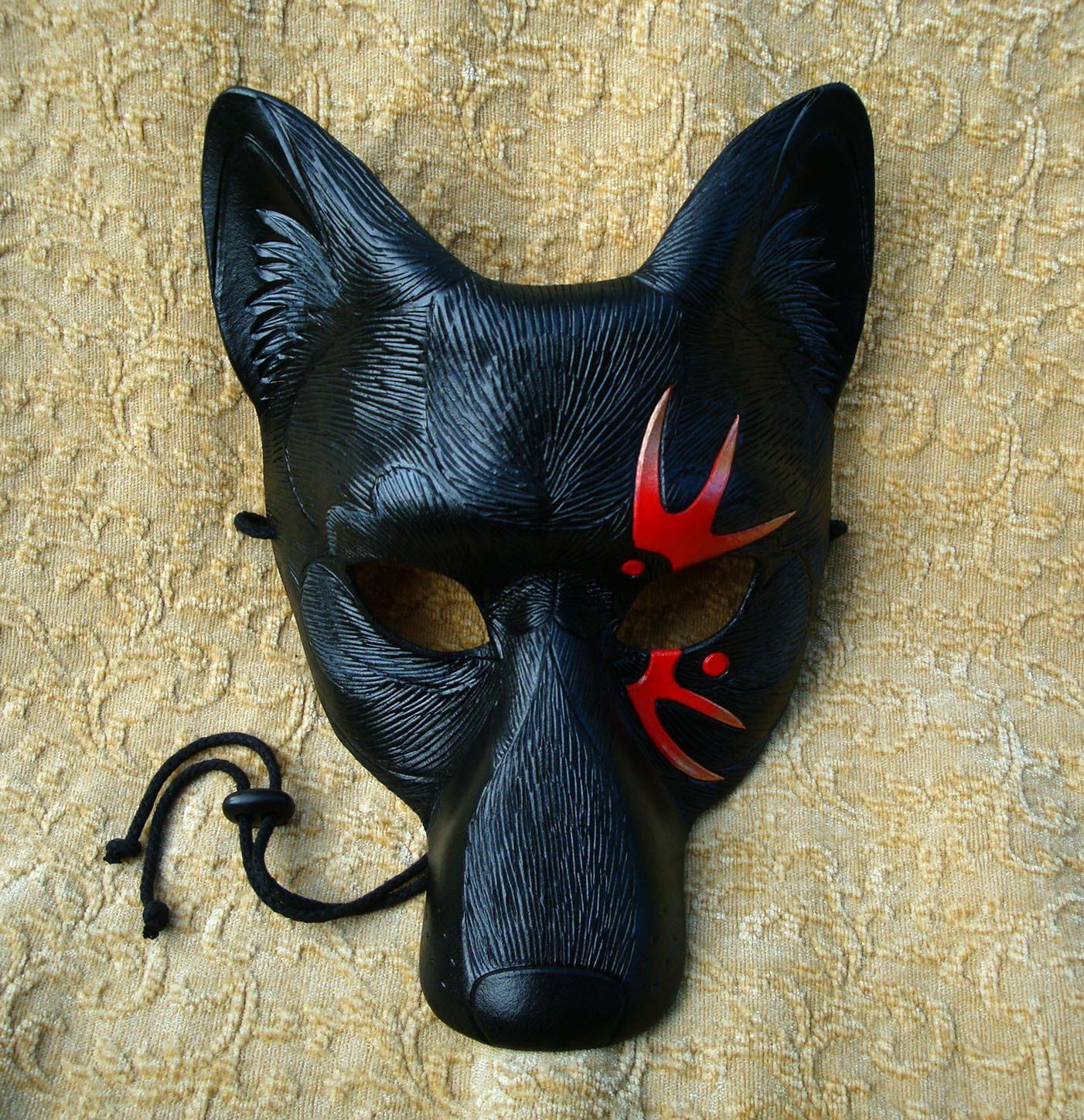Tattoo Wolf V3 Leather Mask ...handmade original limited edition leather mask by Merimask Designs.