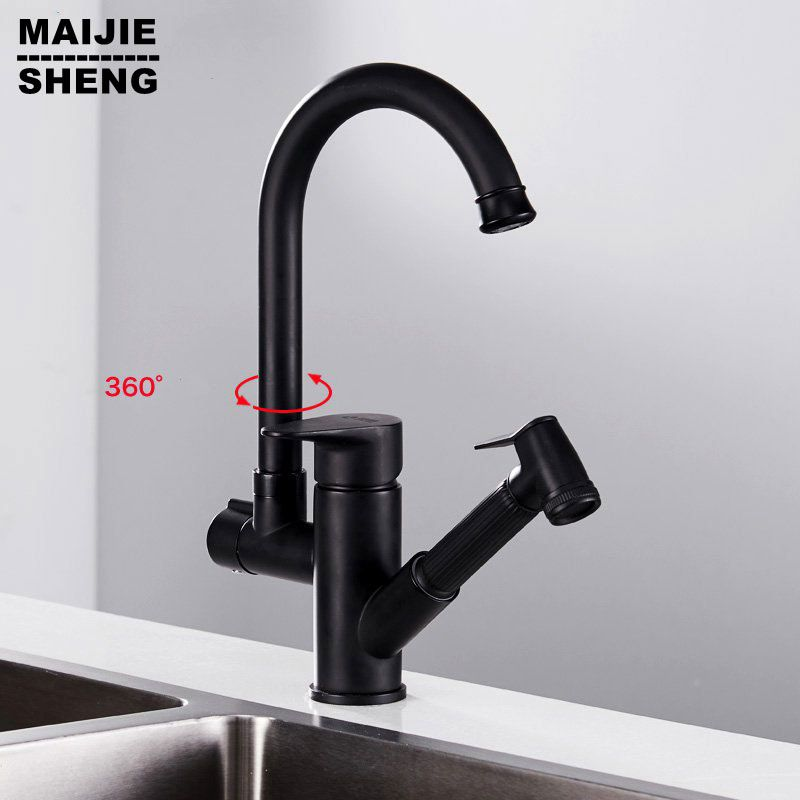 Black Painting Kitchen Faucet Black Sink Mixer For Kitchen Hot And