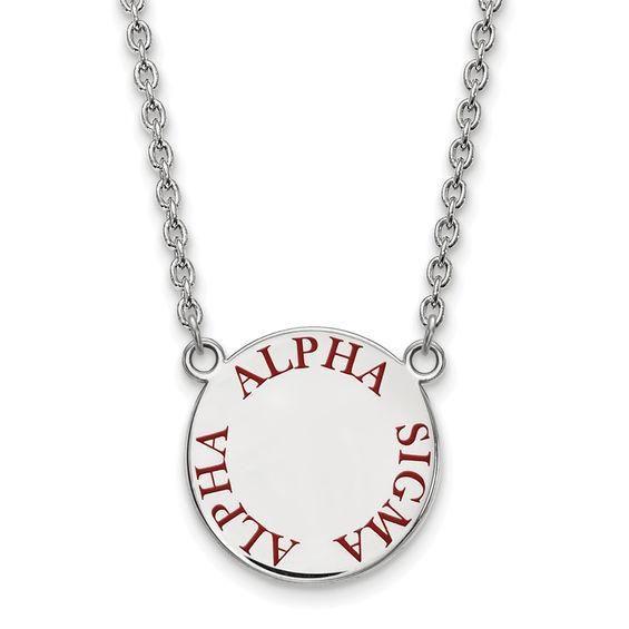 Zales Black Enamel Gamma Phi Beta Sorority Necklace in Sterling Silver UUNck