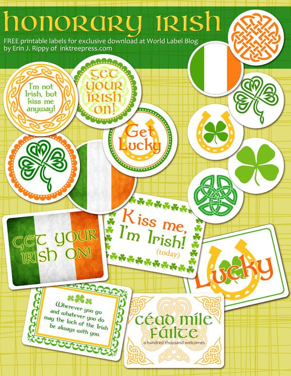Honorary Irish St Pattys Day Printable Labels Worldlabel Blog St Pattys Day Holiday Printables Green Day Holiday