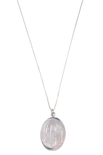 Engraved Silver Plated Large Oval Necklace jewelboxonline.com