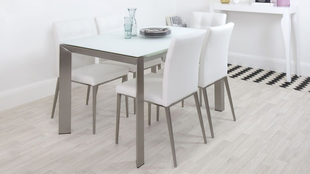 Frosted glass dinning table Extendable Glass Dining Table And White Dining Chairs Pinterest Eve White Frosted Glass With Brushed Stainless Steel And Moda