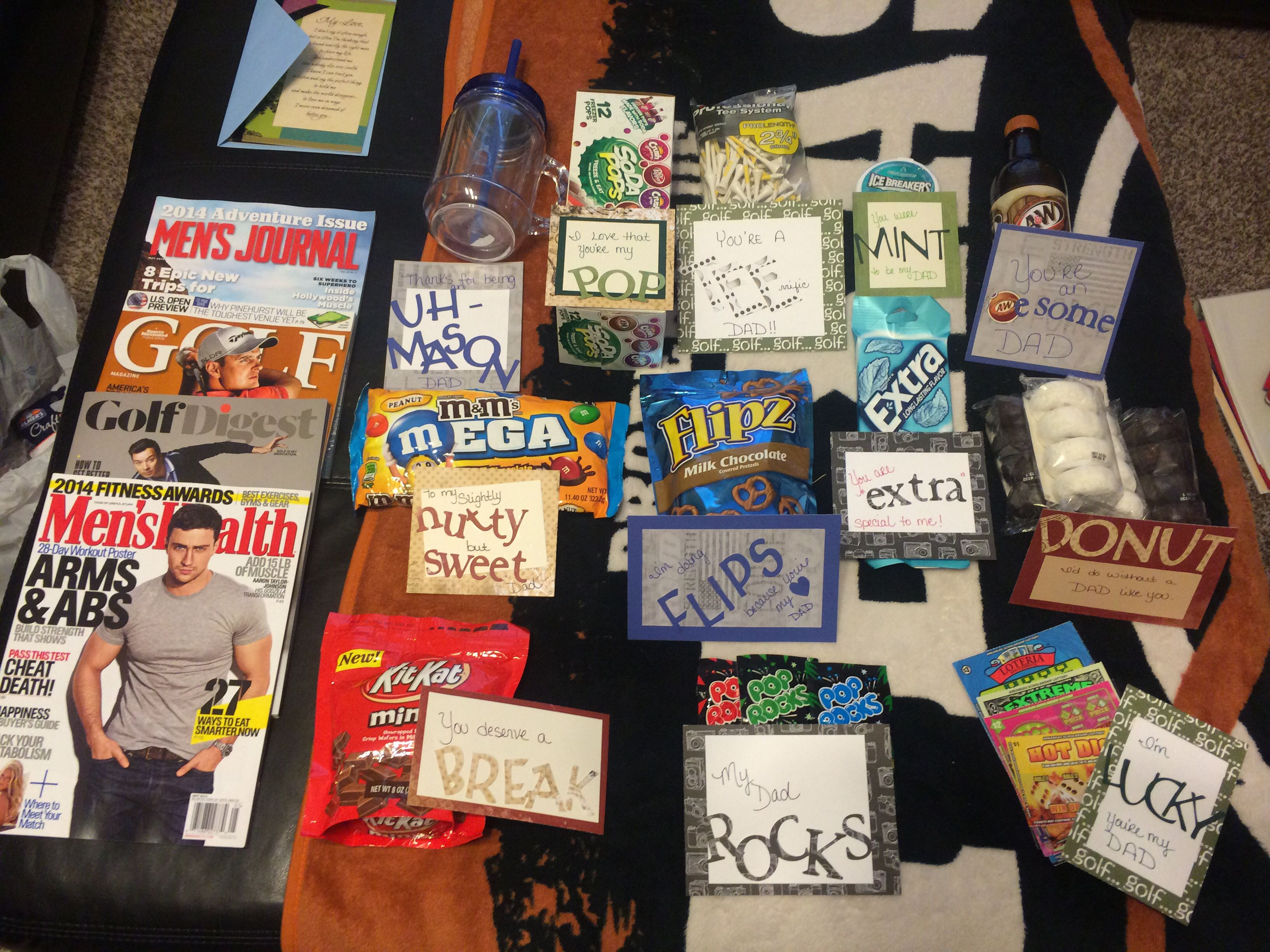 Father's Day deployment care package. Corny sayings with