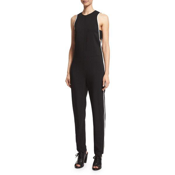 Rag & Bone Luna Sleeveless Stretch-Knit Jumpsuit ($550) ❤ liked on Polyvore featuring jumpsuits, black, jump suit, bandeau jumpsuit and sleeveless jumpsuit