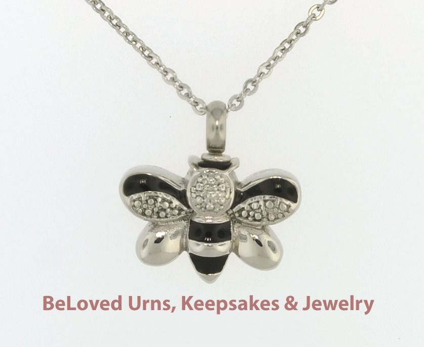 Black silver bee cremation jewelry memorial keepsake pendant w black silver bee cremation jewelry memorial keepsake pendant w chain funnel solutioingenieria Image collections