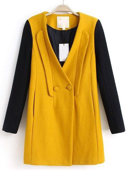 Yellow Contrast Long Sleeve V Neck Buttons Coat EUR€36.25