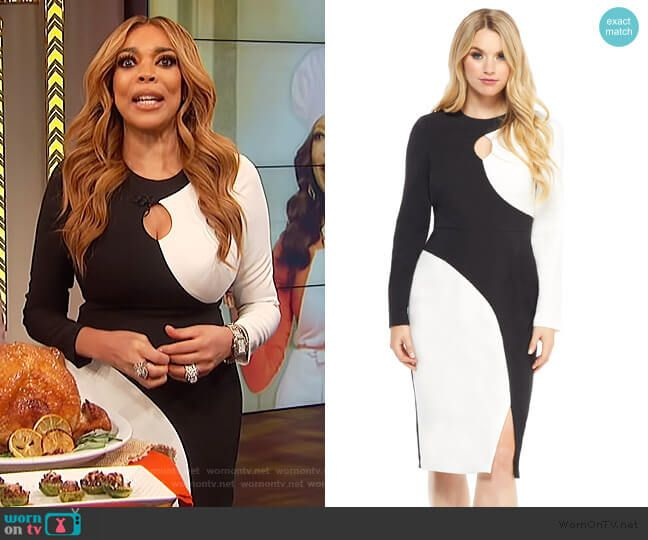 a9a56929deb4 Wendy s black and white colorblock dress on The Wendy Williams Show. Outfit  Details  https