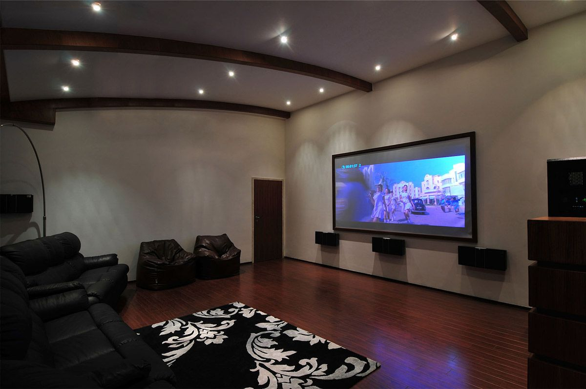Nice Cinema Room, Three Story Home, Mumbai, India By ZZ Architects