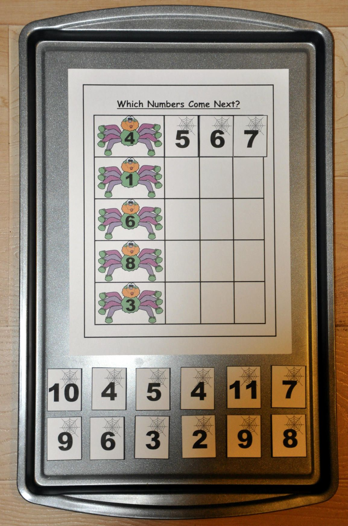 Which Numbers Come Next Spider Themed Sequencing