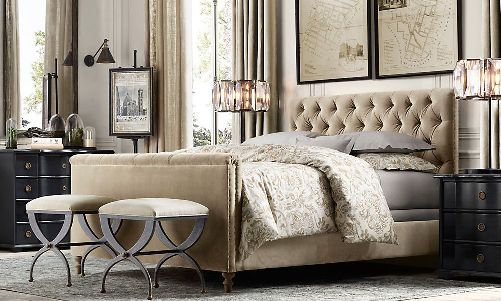 chesterfield fabric panel bed  restoration hardware  ogf