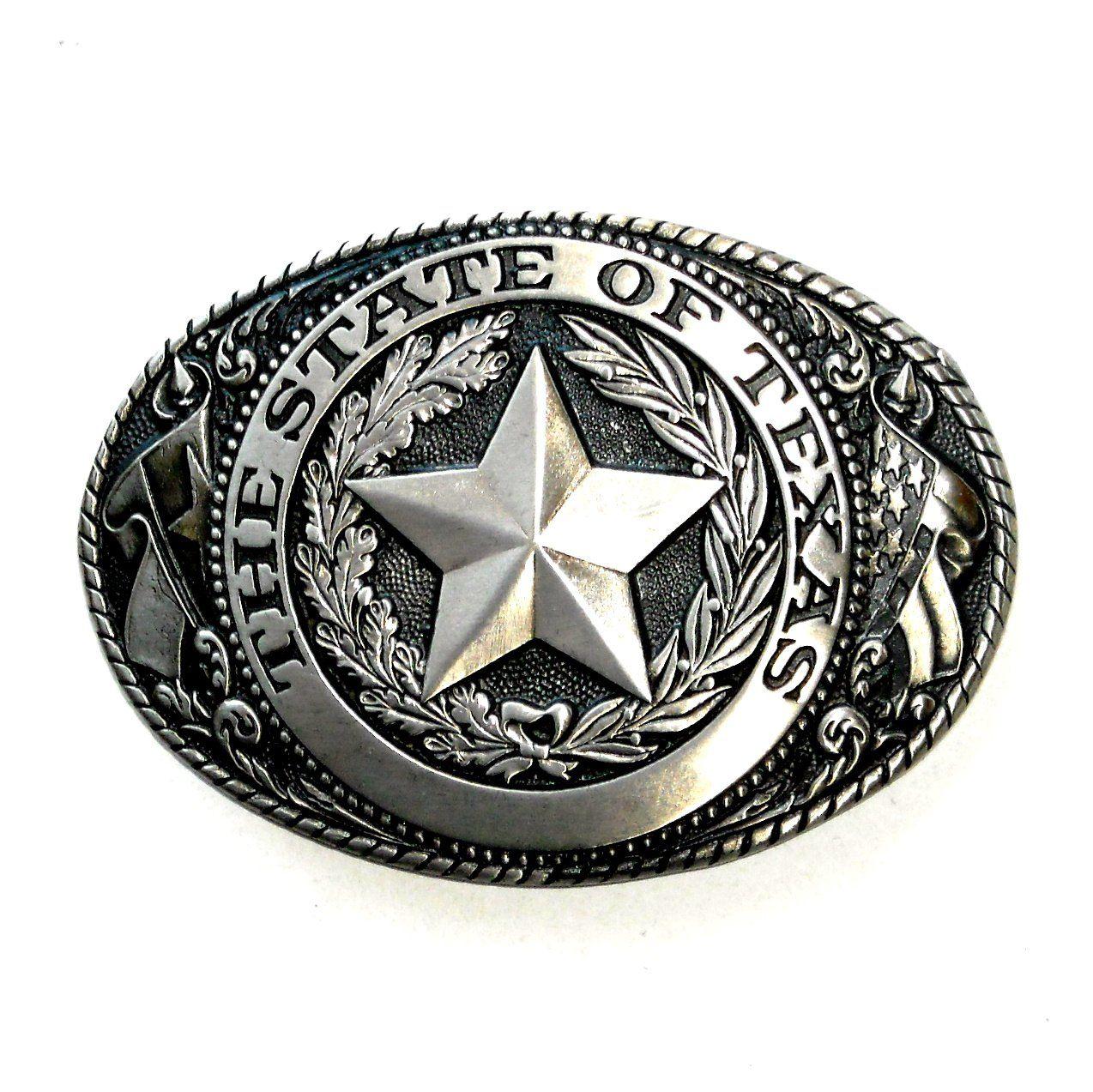 Lone Star Texas Usa Belt Buckle Silver Rhinestone  Western Cowboy Rodeo Mens Big
