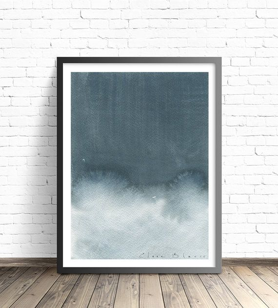 Grey Print. Watercolor Print. Modern home decor. Abstract painting ...