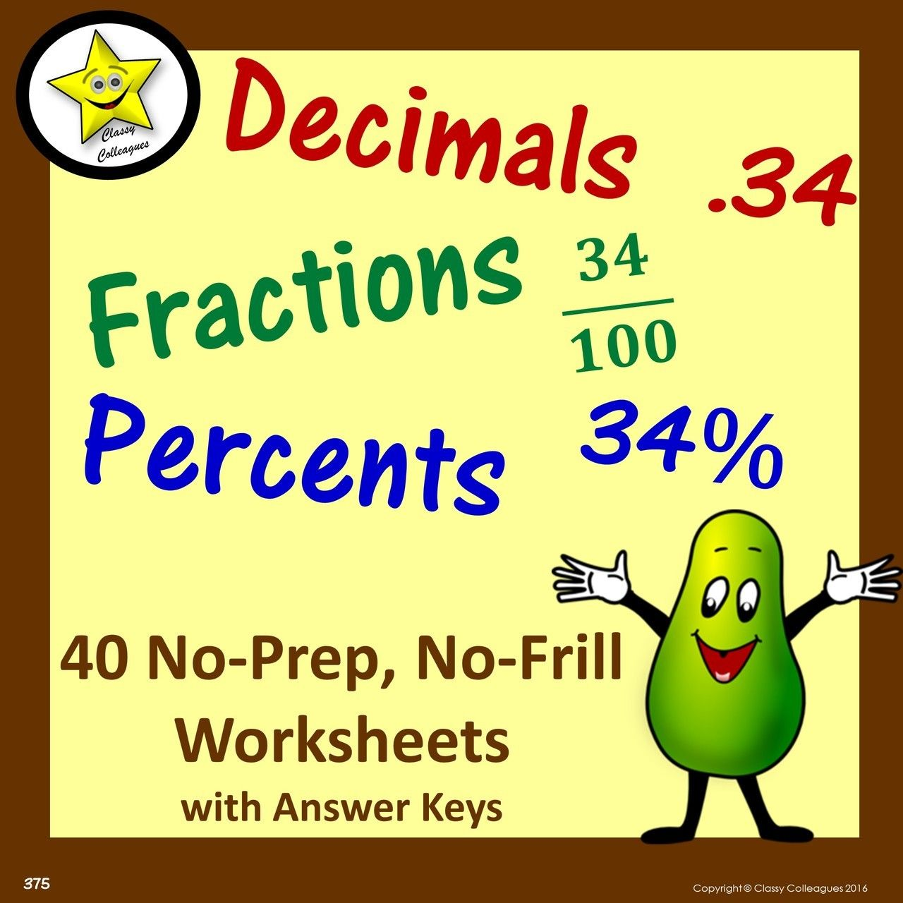 Decimal Fraction Percent Equivalent No Frill Worksheets