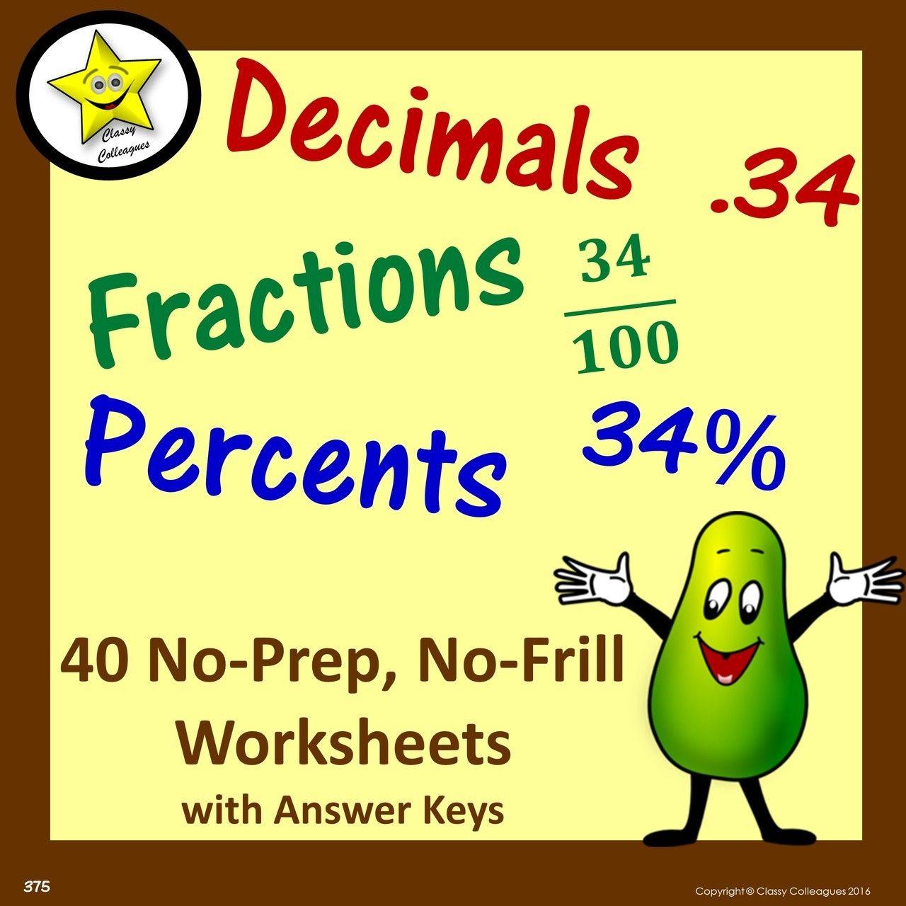 Decimal Fraction Percent Equivalent No Frill Worksheets