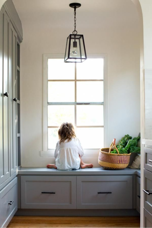 Built in cabinets and window seat. Blue gray paint color | Interiors ...