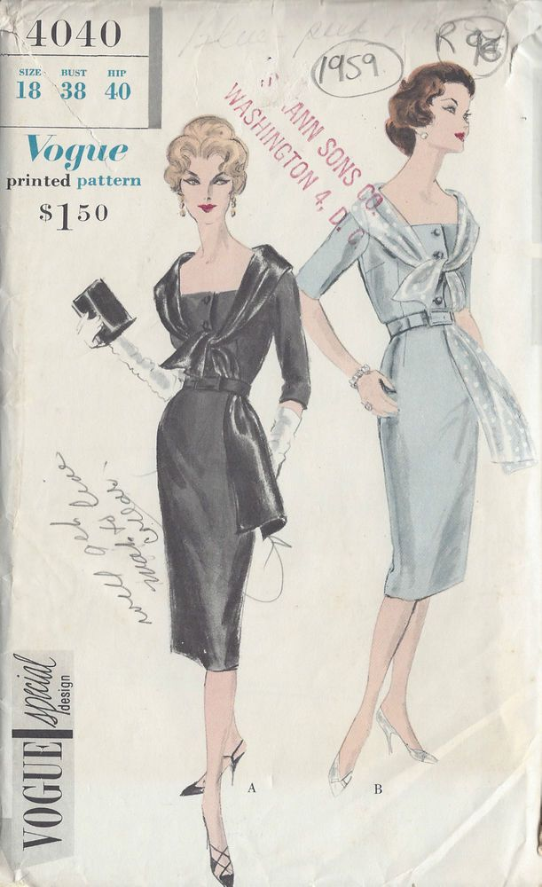 1959 Vintage VOGUE Sewing Pattern B38 DRESS (R96) | Blusen ...