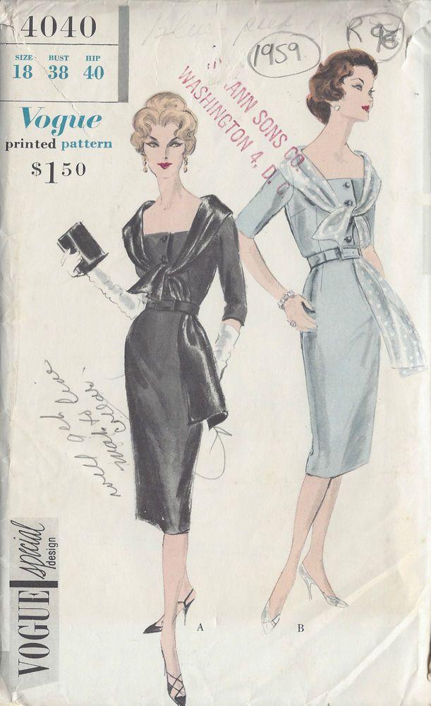 1959 Vintage VOGUE Sewing Pattern B38 DRESS (R96) | sew sew ...
