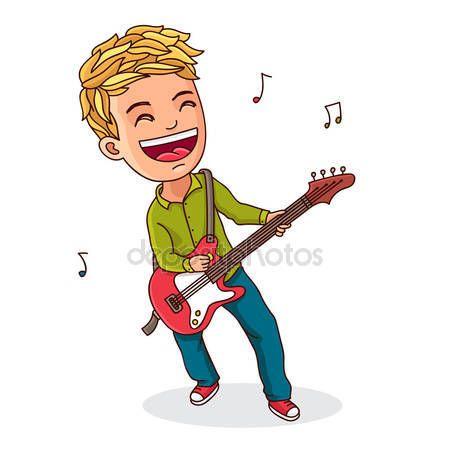 Descargar Niño Tocando Guitarra Eléctrica Ilustración De Stock