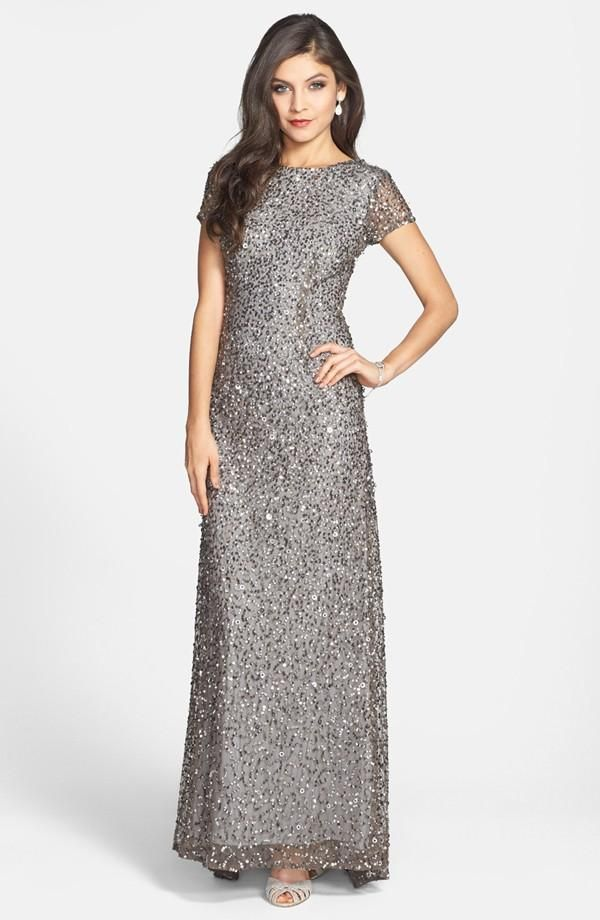 Adrianna Papell Short Sleeve Sequin Mesh Gown ♥