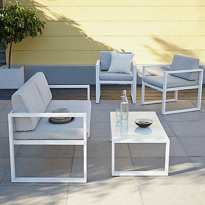 Ibiza 4 Piece Sofa Set - White and Grey | Pinterest
