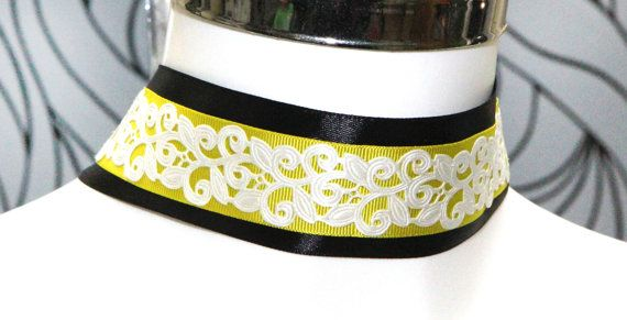 Black Yellow white layered choker necklace Filigree flower Gothic Victorian style  choker 40mm  modern chic by heavenlycow. Explore more products on http://heavenlycow.etsy.com