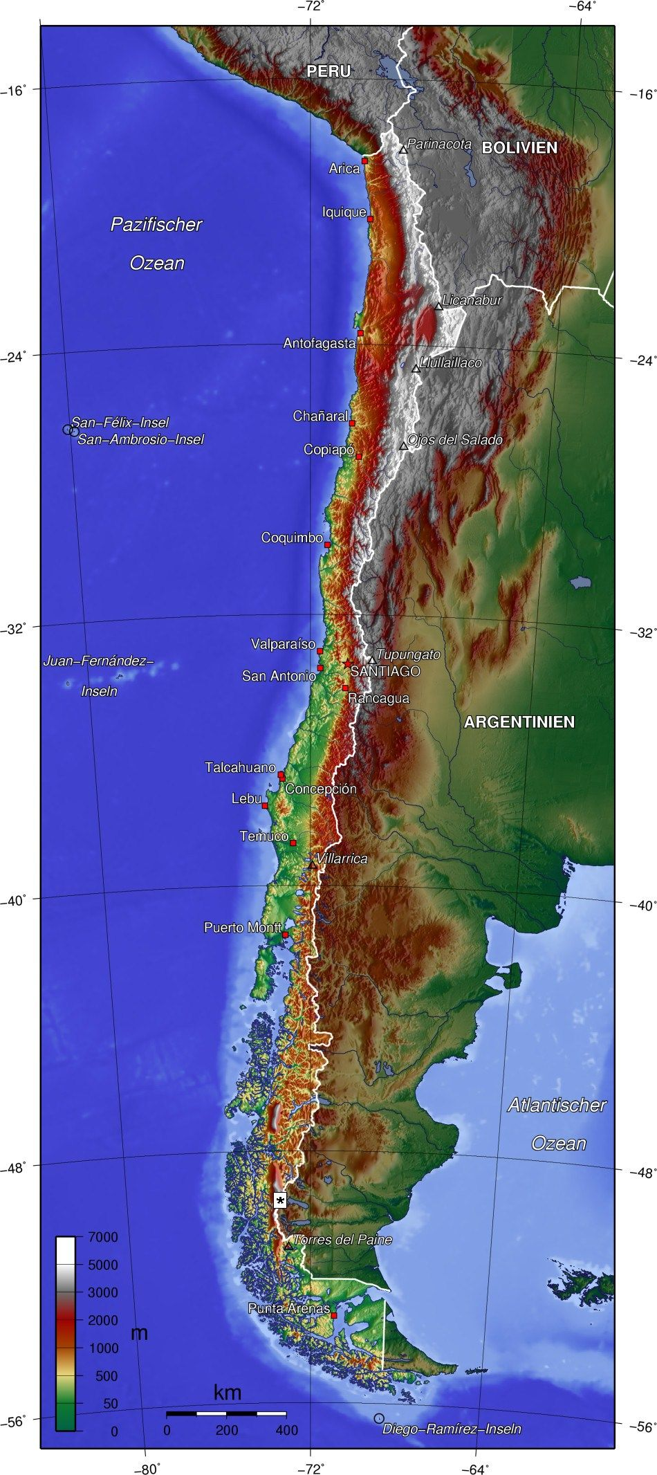 Topographic map of Chile | MAPS | Pinterest | Chile, Uruguay and
