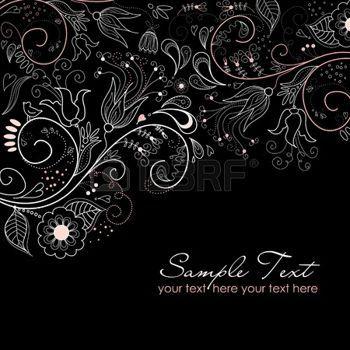 Dessin noir et blanc noir et blanc fond floral - Dessin fond noir ...
