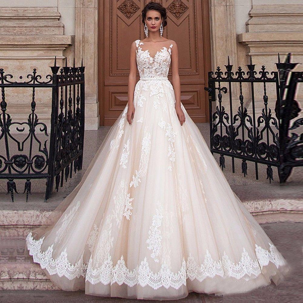 Vintage princess champagne wedding dresses a line bridal ball gowns