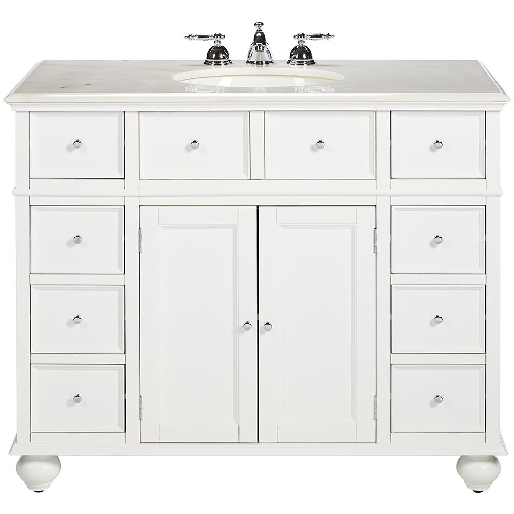 Home Decorators Collection Hampton Harbor 44 In W X 22 In D Bath Vanity In White With Natural Marble Vanity Top In White Bf 21375 Wh The Home Depot Marble Vanity Tops Bathroom