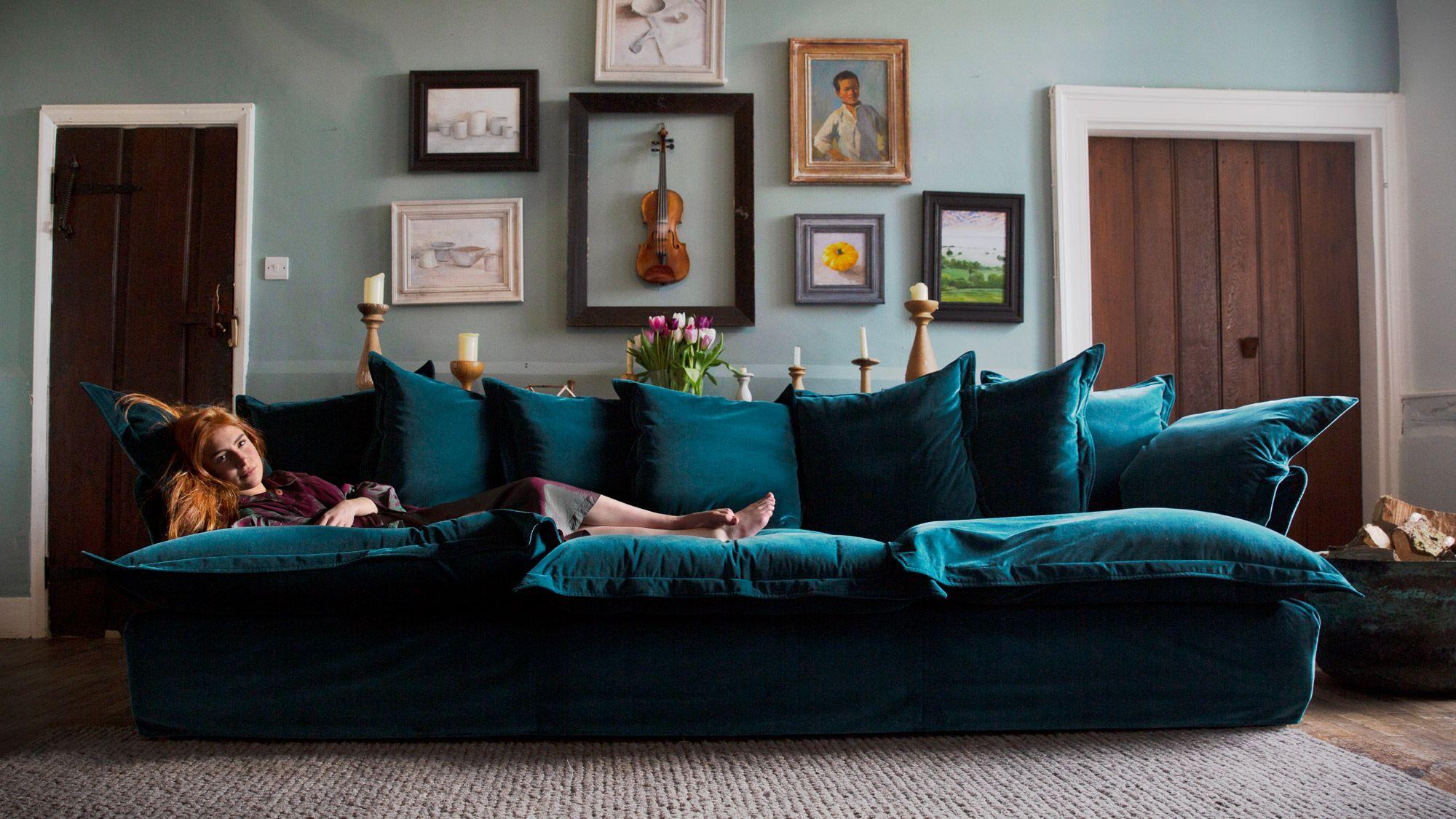 Large Sofa Teal Sofa Living Room Large Sofa Cosy Sofa