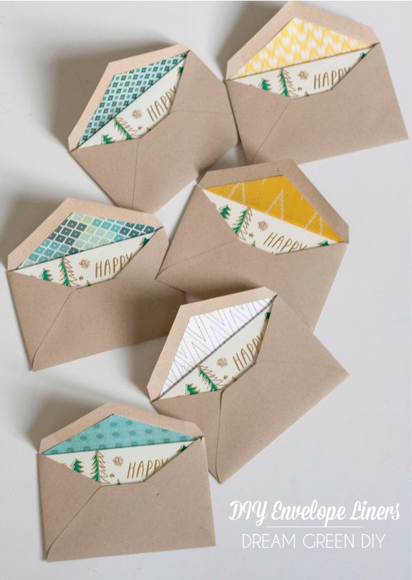 DIY Christmas Card Envelope Liners (DreamGreenDIY) | Carissa Miss ...