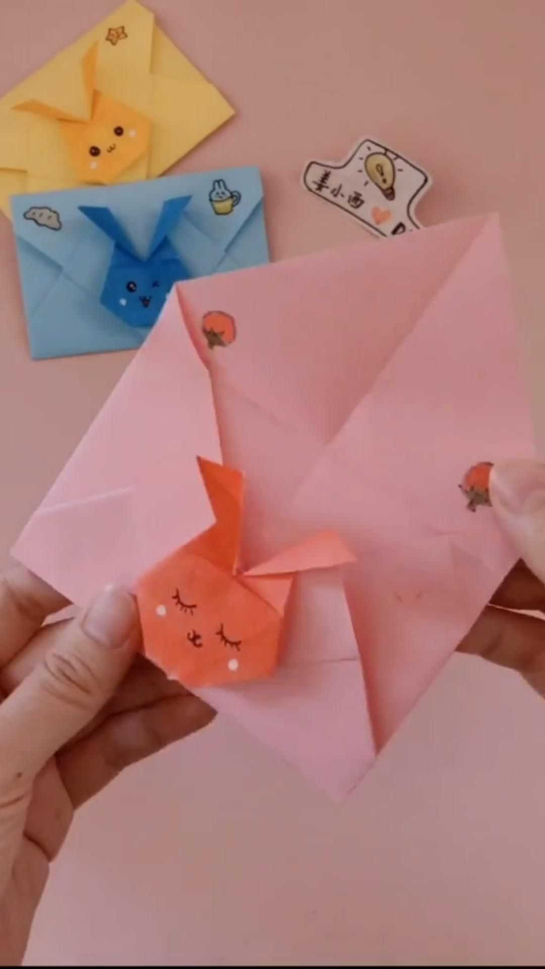 Diy Cute Rabbit Envelopes In 2020 Paper Crafts Paper Crafts Diy Tutorials Paper Crafts Origami