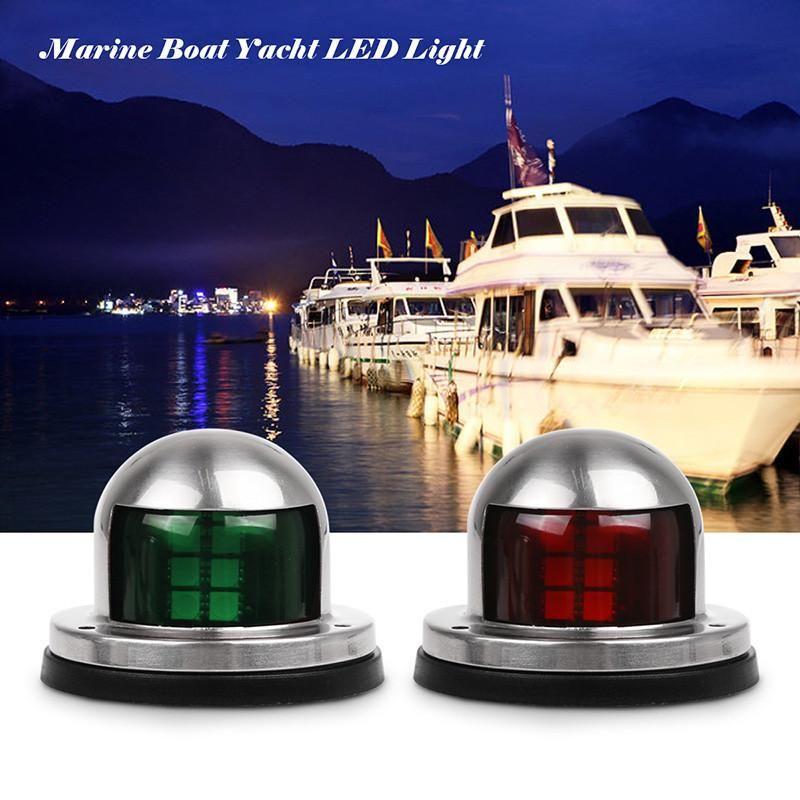 1 Pair Stainless Steel 12v Led Bow Navigation Light Red Green