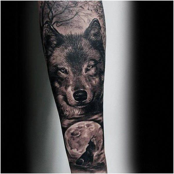 Wolf Howling At Moon Guys Realistic Forearm Sleeve Tattoo Ideas Click For More Tattoo Sleeve Forearm Sleeve Tattoos Wolf Tattoo Design Best Sleeve Tattoos