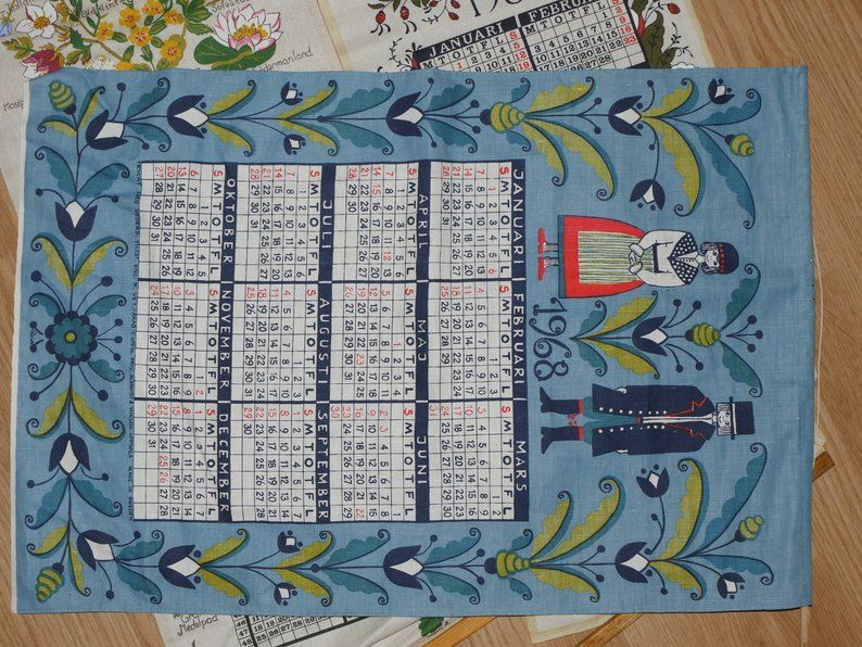 Lot Nr 130 Linen Calendar Towel Swedish 3 Pcs Collection 1986 1996