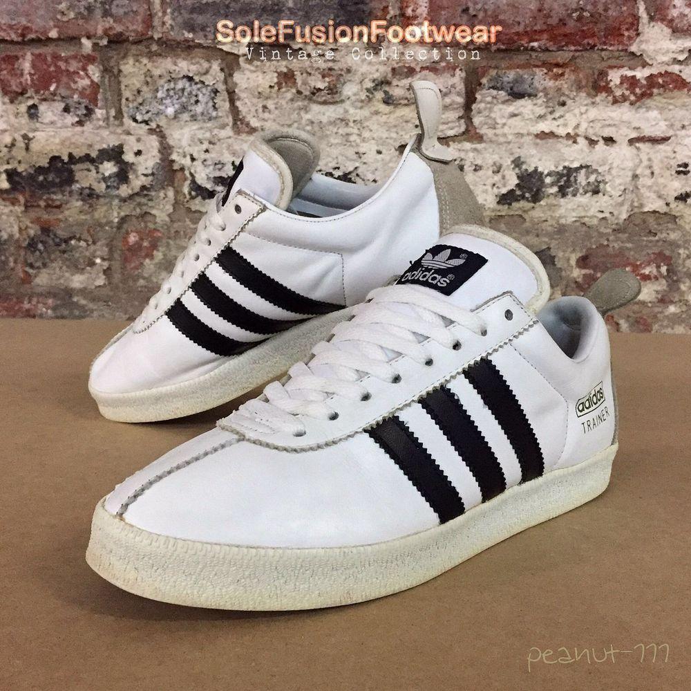 adidas Originals mens TRAINER White/Black sz 8 Rare Vintage Sneaker US 8.5  EU 42