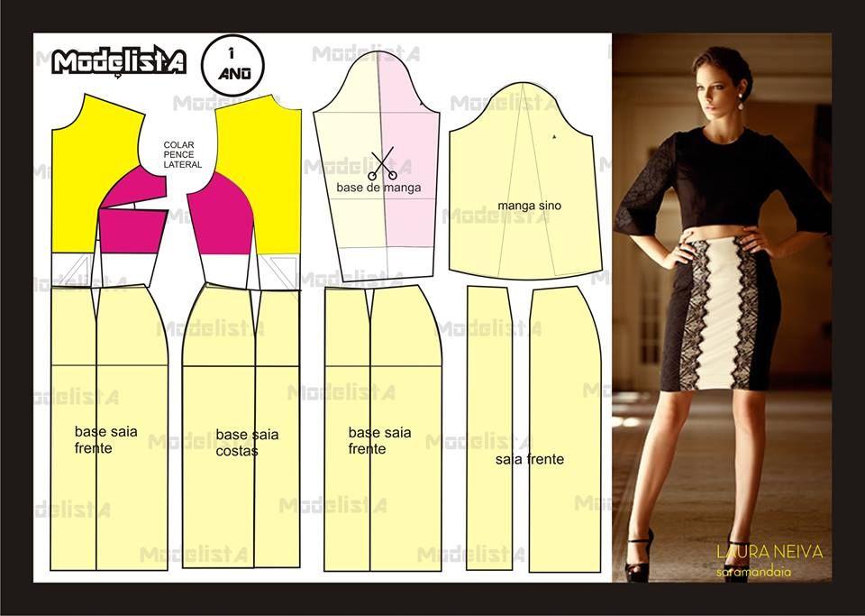 Modelagem blusa e saia de Laura Neiva de Saramandaia. Fonte: https://www.facebook.com/photo.php?fbid=563198847049358=a.426468314055746.87238.422942631074981=1
