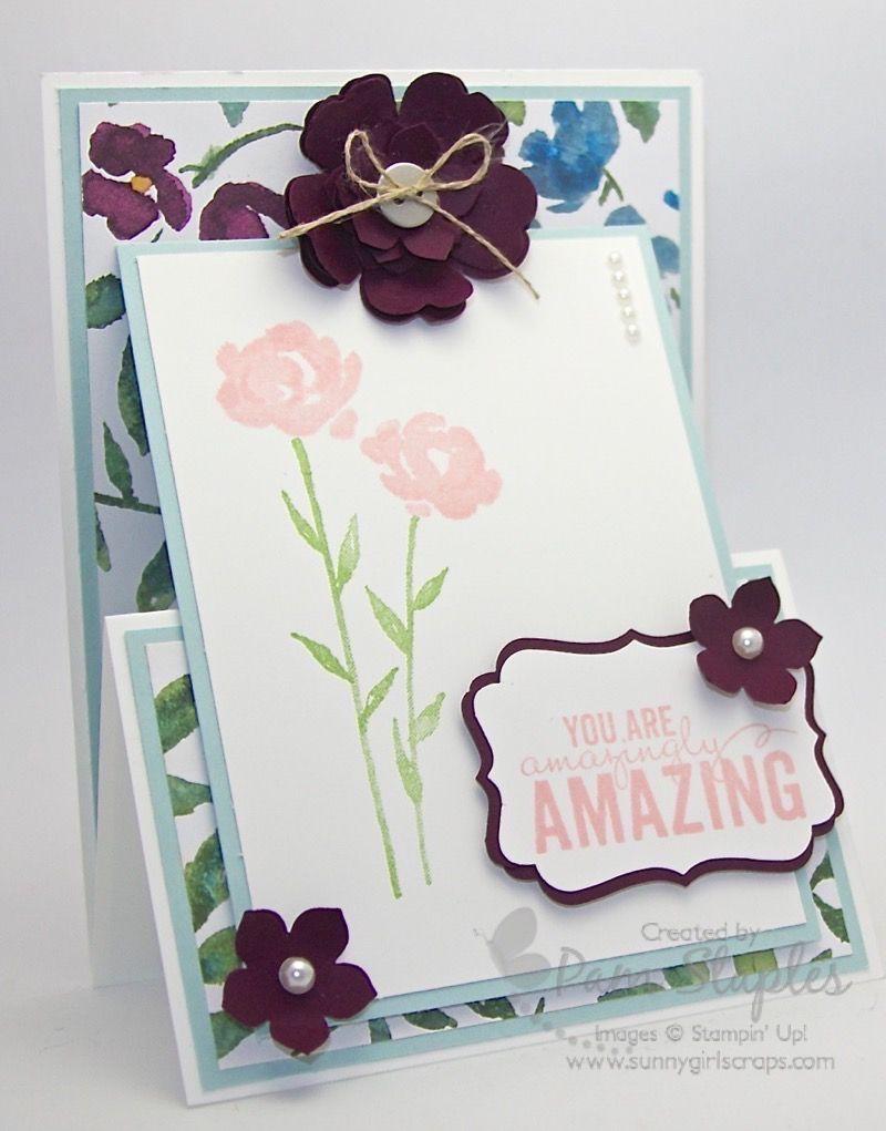 Suoc 119 Upright Z Fold Card Su Painted Petals Pinterest