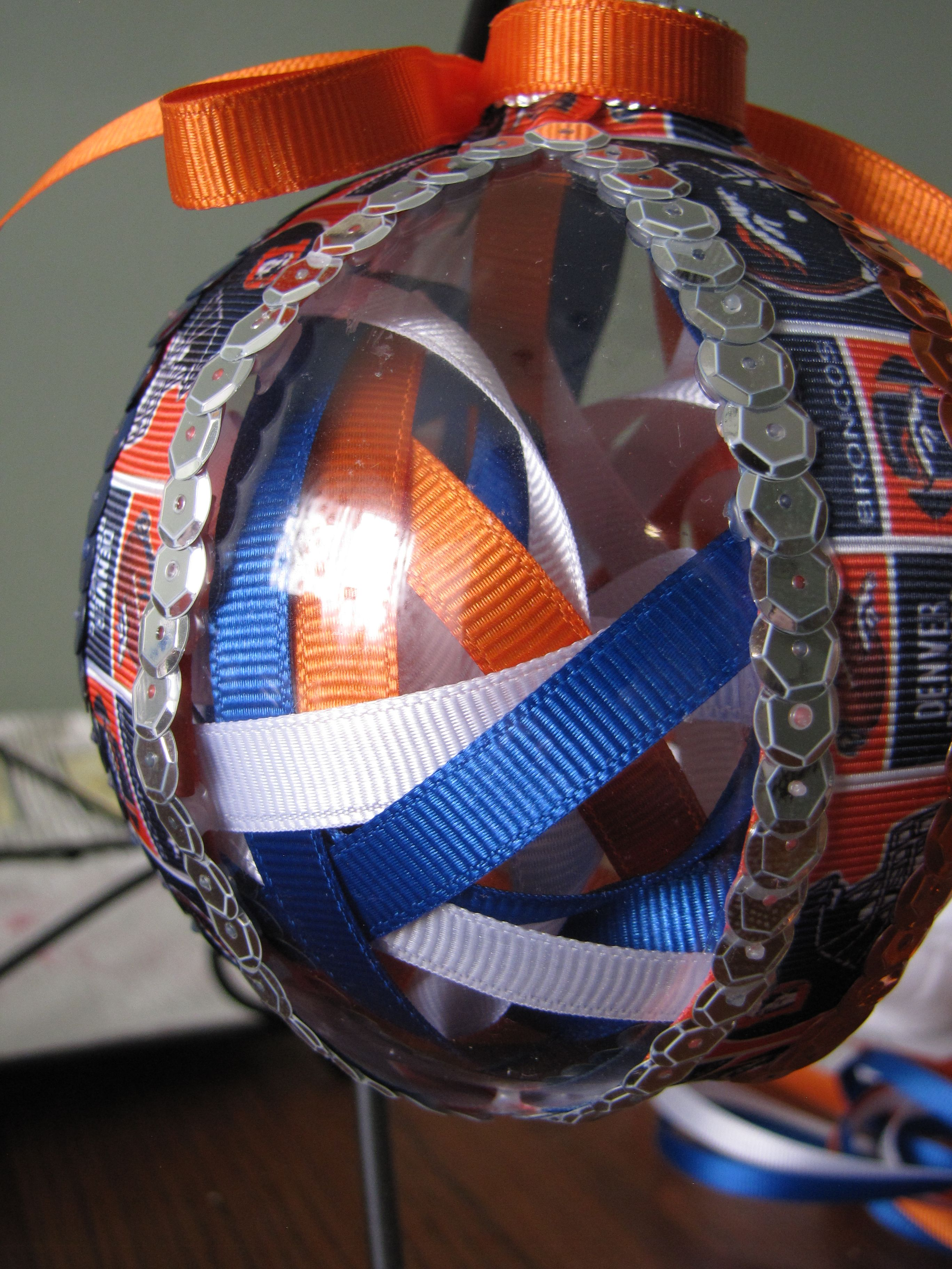 Hand made Denver Bronco ornament - available for purchase - contact me for details!