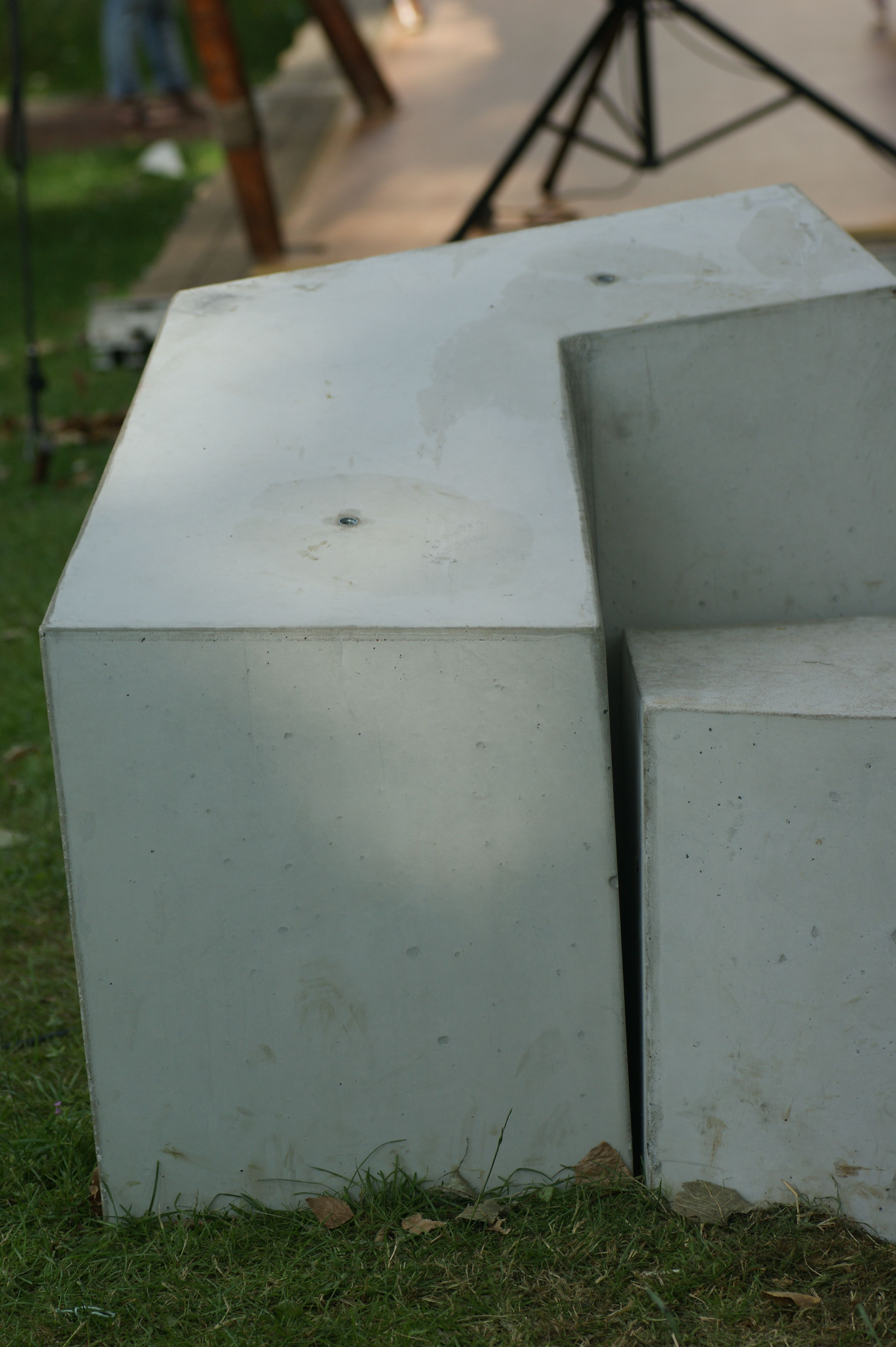 Elegant Hand Shaped Concrete Bench / Chair (detail), During Exposition At  Slokdarmfestival 2012 #