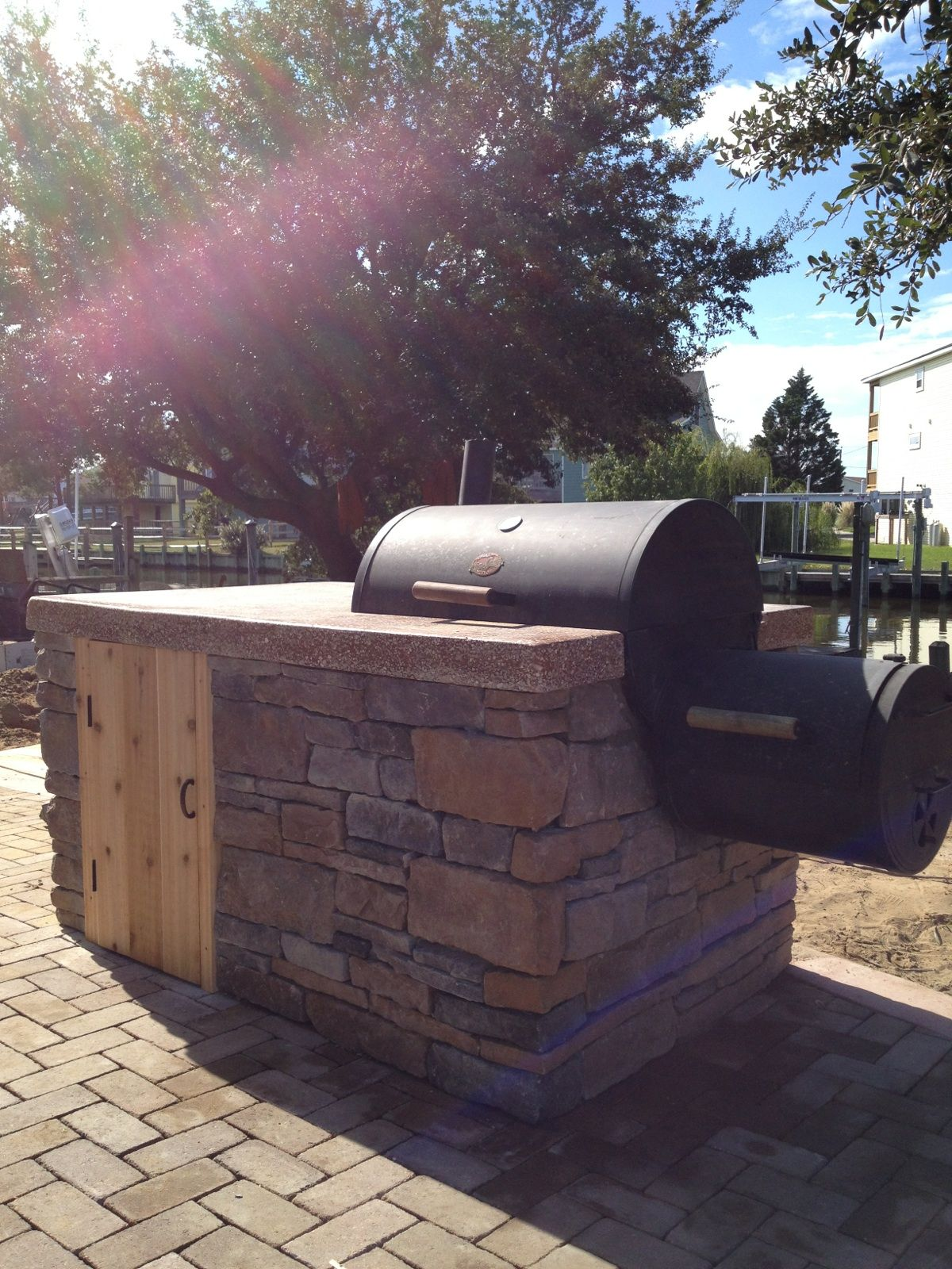 built in stone smoker island | sandscapes | pinterest | stone