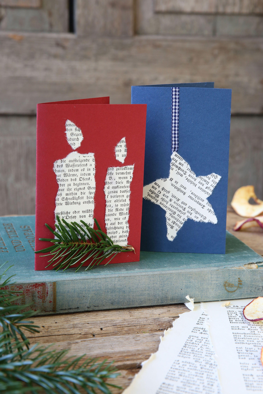 Weihnachtskarten aus alten Buchseiten