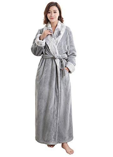 cb223b648f Women s Luxurious Fleece Bath Robe Plush Soft Warm Long Terry Bathrobe Full  Length Sleepwear