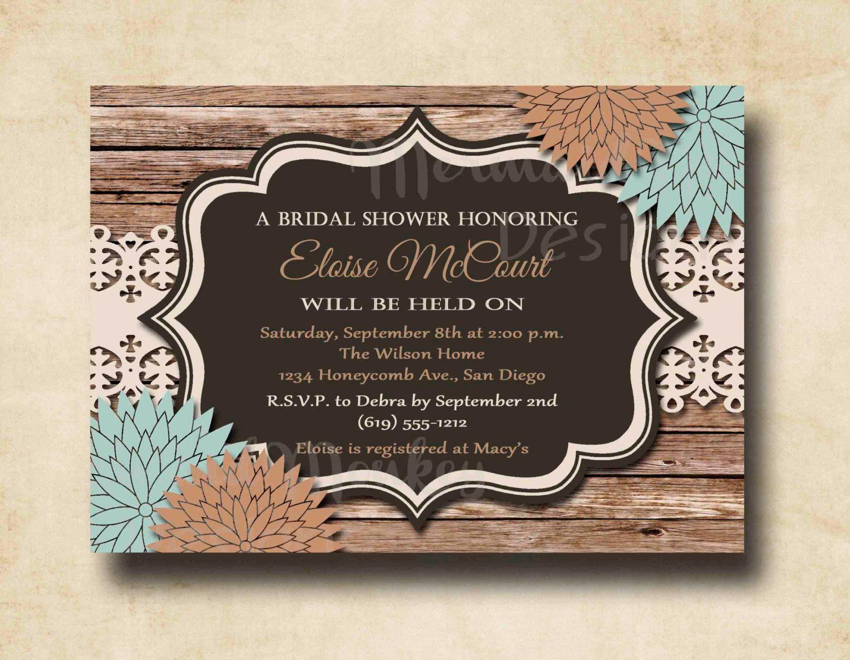 rustic bridal shower invitation wedding shower invitation printable invites lace floral eloise - Rustic Wedding Shower Invitations