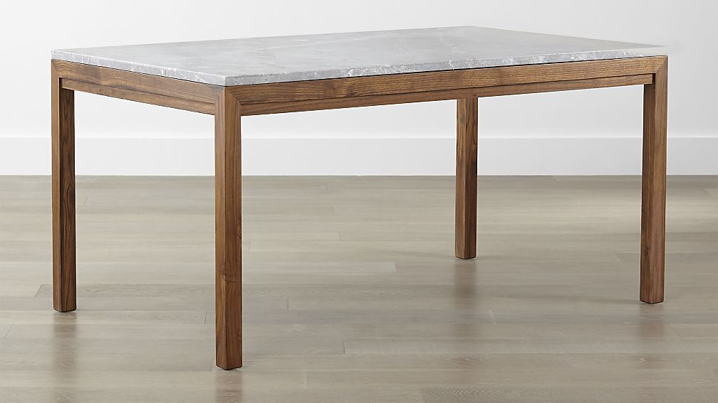 Parsons Grey Marble Top Elm Base Dining Tables Crate And Barrel