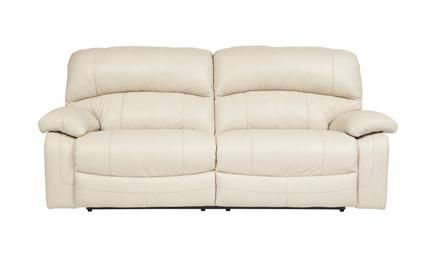Damacio Cream Leather 2 Seat Reclining Power Sofa With Images