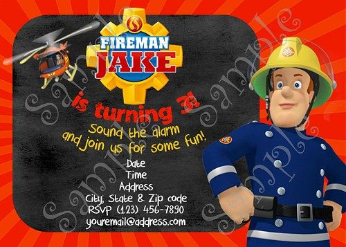 Fireman Sam Birthday Party Invitation Free Thank You Card Fireman