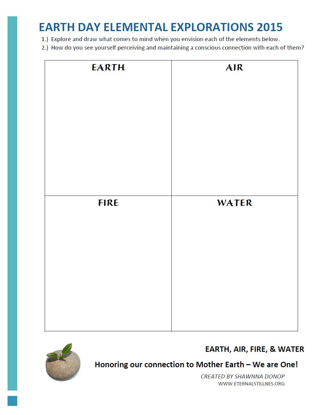 Earth Day Elemental Explorations Worksheet