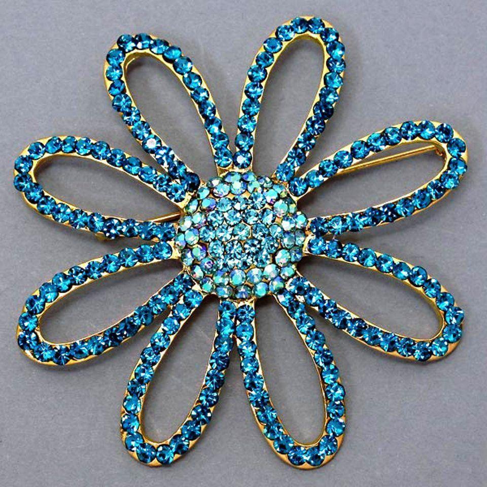 "Modern Trendy Aquamarine Crystal Flower Brooch Pin 3"" x 3 ""  Statement Jewelry #Fashion #Flower"